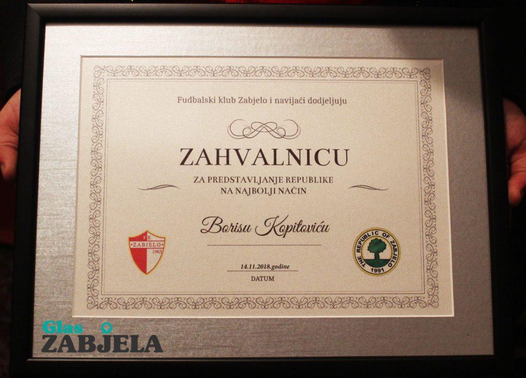 Borisu Kopitoviću zahvalnica navijača Zabjela