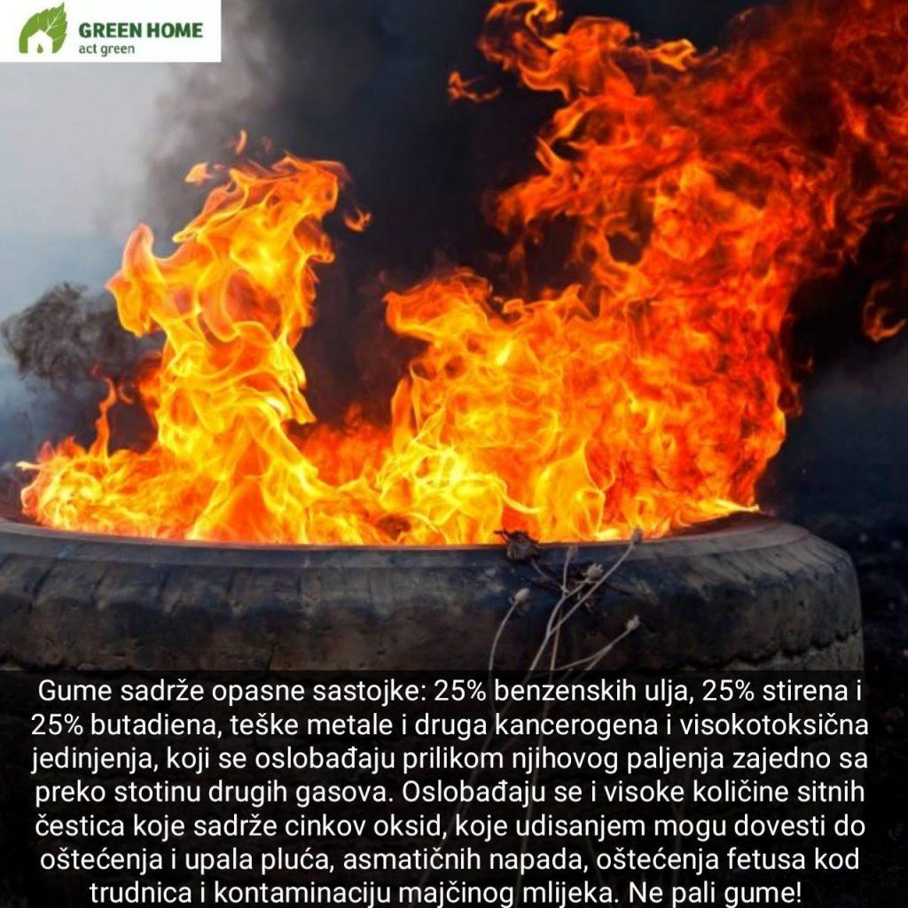 Ekološki hazard: Zapalili gume na Zabjelu (VIDEO)